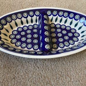 Polish Pottery divided dish